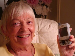 Estelle Patenaude and her Palm Treo